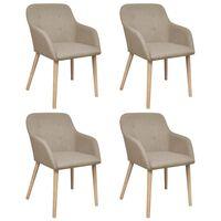 vidaXL Krzesła do jadalni, 4 szt., beżowe, tkanina i lity dąb