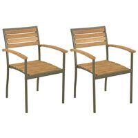 vidaXL Sztaplowane krzesła ogrodowe, 2 szt., drewno akacjowe i stal