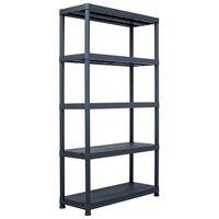 vidaXL Regał magazynowy, czarny, 500 kg, 100x40x180 cm, plastikowy