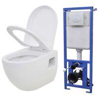 vidaXL Toaleta podwieszana ze spłuczką podtynkową, ceramiczna, biała