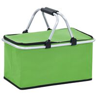 vidaXL Składana torba termiczna, zielona, 46x27x23 cm, aluminium