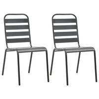 vidaXL Krzesła ogrodowe, sztaplowane, 2 szt., stalowe, szare