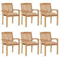vidaXL Sztaplowane krzesła ogrodowe z poduszkami, 6 szt., tekowe
