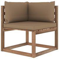 vidaXL Ogrodowa sofa narożna z palet, z poduszkami w kolorze taupe