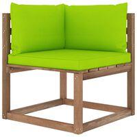 vidaXL Ogrodowa sofa narożna z palet, z jasnozielonymi poduszkami