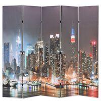 vidaXL Składany parawan, 200x170 cm, wzór Nowy Jork nocą