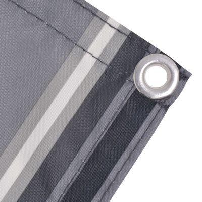 vidaXL Parawan balkonowy z tkaniny oxford, 75x600 cm, szare paski
