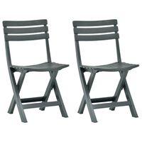 vidaXL Składane krzesła ogrodowe, 2 szt., plastikowe, zielone