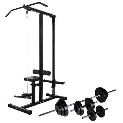 vidaXL Wyciąg do ćwiczeń i zestaw sztangi z hantlami, 30,5 kg