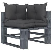 vidaXL Ogrodowe siedzisko narożne z palet, czarne poduszki, drewniane