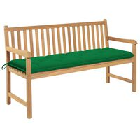 vidaXL Ławka ogrodowa z zieloną poduszką, 150 cm, lite drewno tekowe