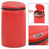 vidaXL Automatyczny kosz na śmieci z czujnikiem, 40 L, stal, czerwony