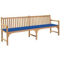 vidaXL Ławka ogrodowa z błękitną poduszką, 240 cm, drewno tekowe