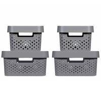 Curver Zestaw pudełek Infinity z pokrywami, 4 szt., 4,5L+11L, antracyt