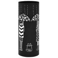 vidaXL Stojak na parasole, wzór z kobietami i kotem, stalowy, czarny