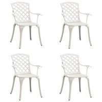 vidaXL Krzesła ogrodowe 4 szt., odlewane aluminium, białe