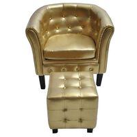 vidaXL Fotel z podnóżkiem, złoty, sztuczna skóra