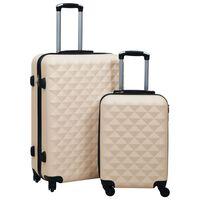 vidaXL Zestaw twardych walizek na kółkach, 2 szt., złoty, ABS