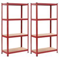 vidaXL Regały magazynowe, 2 szt., czerwone, 80x40x160 cm, stal i MDF