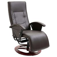 vidaXL Fotel obrotowy, brązowy, sztuczna skóra