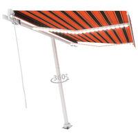 vidaXL Ręcznie zwijana markiza z LED, 350x250 cm, pomarańczowo-brązowa