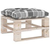 vidaXL Ogrodowy stołek z palet z poduszką w szarą kratę, drewno sosnowe