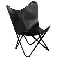 vidaXL Krzesło motyl, czarne, skóra naturalna