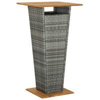 vidaXL Stolik barowy, szary, 60x60x110 cm, rattan PE i lita akacja