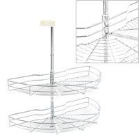 vidaXL 2-poziomowy kosz do kuchni, srebrny, 180 stopni, 75x38x80 cm