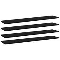 vidaXL Półki na książki, 4 szt., czarne, 100x20x1,5 cm, płyta wiórowa