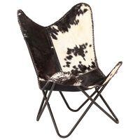vidaXL Krzesło motyl, czarno-białe, naturalna kozia skóra