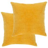 vidaXL Poduszki, 2 szt., aksamit bawełniany, 45 x 45 cm, żółte