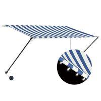 vidaXL Markiza zwijana z LED, 300 x 150 cm, biało-niebieska