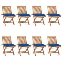 vidaXL Składane krzesła ogrodowe z poduszkami, 8 szt., drewno tekowe