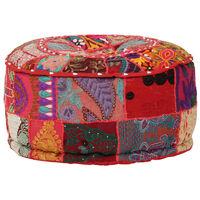 vidaXL Okrągły puf patchworkowy, ręcznie robiony, 40x20 cm, czerwony
