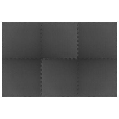 vidaXL Maty podłogowe, 6 szt., 2,16 ㎡, pianka EVA, czarne