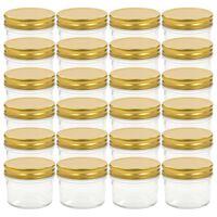 vidaXL Szklane słoiki na dżem, złote pokrywki, 24 szt., 110 ml