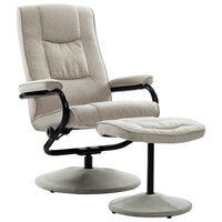 vidaXL Rozkładany fotel z podnóżkiem, kremowy, tkanina