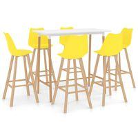 vidaXL 7-częściowy zestaw mebli barowych, żółty