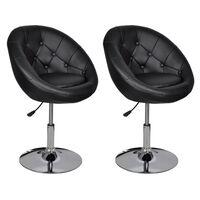 vidaXL Krzesła barowe, 2 szt., czarne, sztuczna skóra