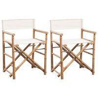vidaXL Składane krzesło reżyserskie, bambus i płótno, 2 sztuki