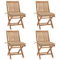 vidaXL Składane krzesła ogrodowe z poduszkami, 4 szt., drewno tekowe