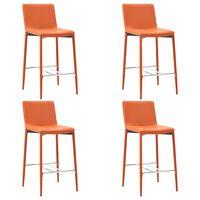 vidaXL Krzesła barowe, 4 szt., pomarańczowe, sztuczna skóra