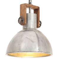 vidaXL Industrialna lampa wisząca, 25 W, srebrna, okrągła, 30 cm, E27