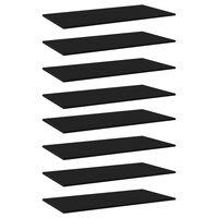 vidaXL Półki na książki, 8 szt., czarne, 80x20x1,5 cm, płyta wiórowa