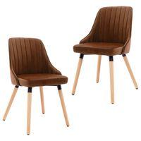 vidaXL Krzesła stołowe, 2 szt., brązowe, aksamitne