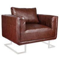 vidaXL Fotel z chromowanymi nóżkami, brązowy, sztuczna skóra