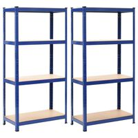 vidaXL Regały magazynowe, 2 szt., niebieskie, 80x40x160 cm, stal i MDF