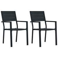 vidaXL Krzesła ogrodowe, 2 szt., czarne, HDPE o wyglądzie drewna