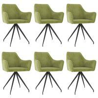 vidaXL Krzesła stołowe, 6 szt., jasnozielone, aksamitne